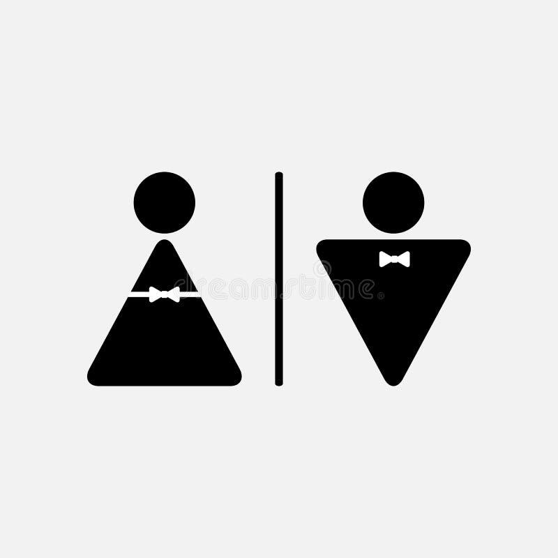 Maschio di vettore ed icona femminile del WC illustrazione vettoriale