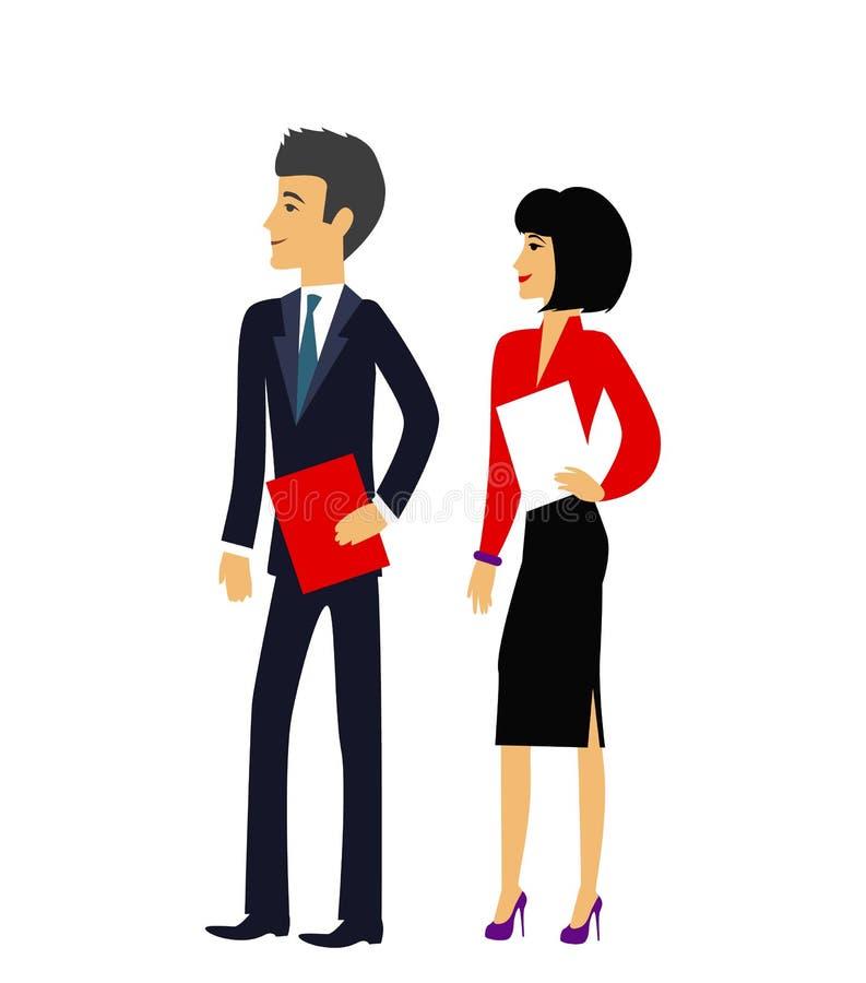 Maschio e femmina come icona delle persone di affari dell'ufficio illustrazione vettoriale