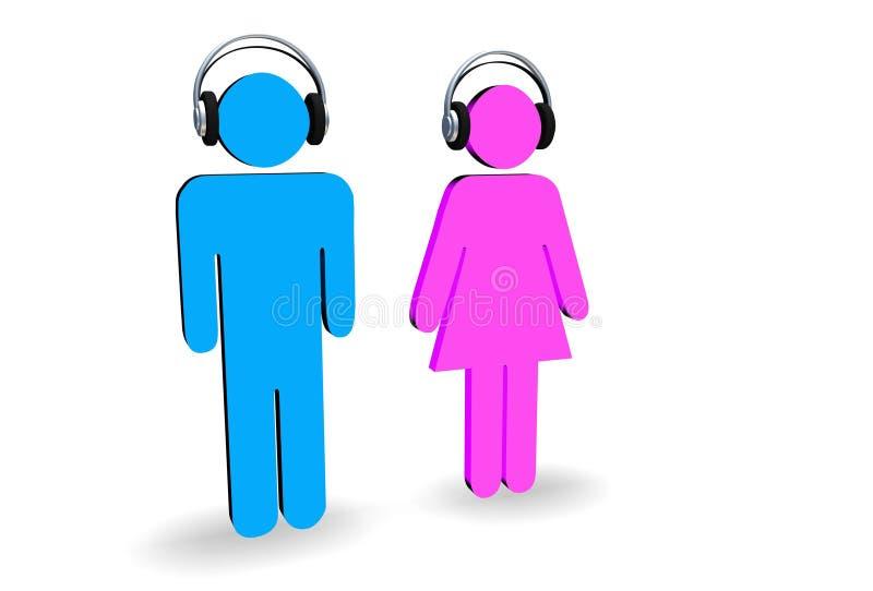 Maschio e femmina con le cuffie illustrazione vettoriale