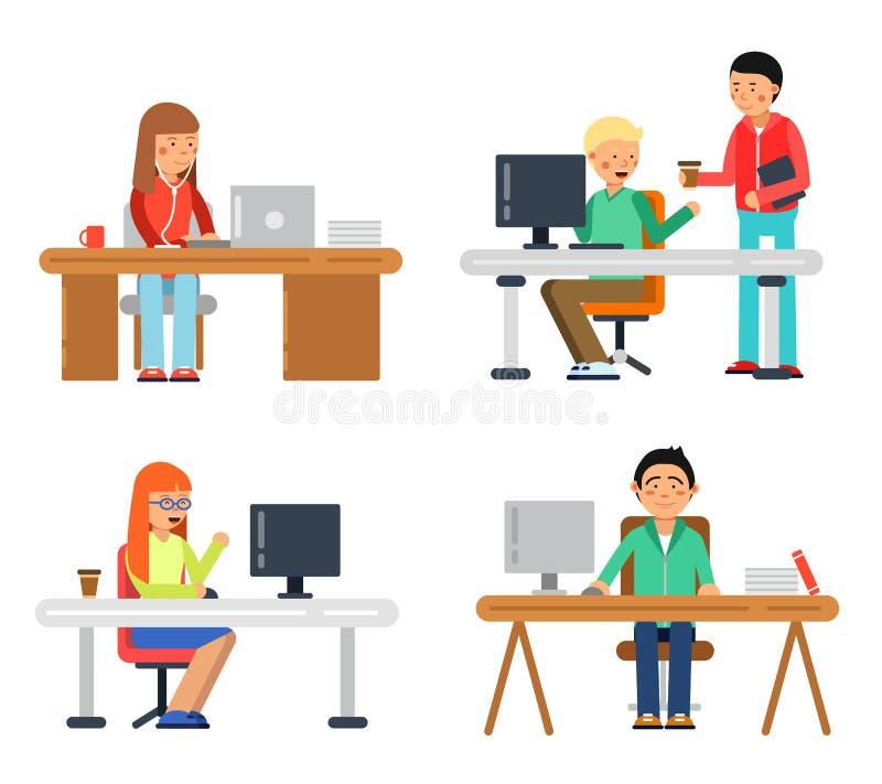 Maschio e femmina delle free lance all'area di lavoro del computer Illustrazioni dei colleghe nello stile piano illustrazione di stock