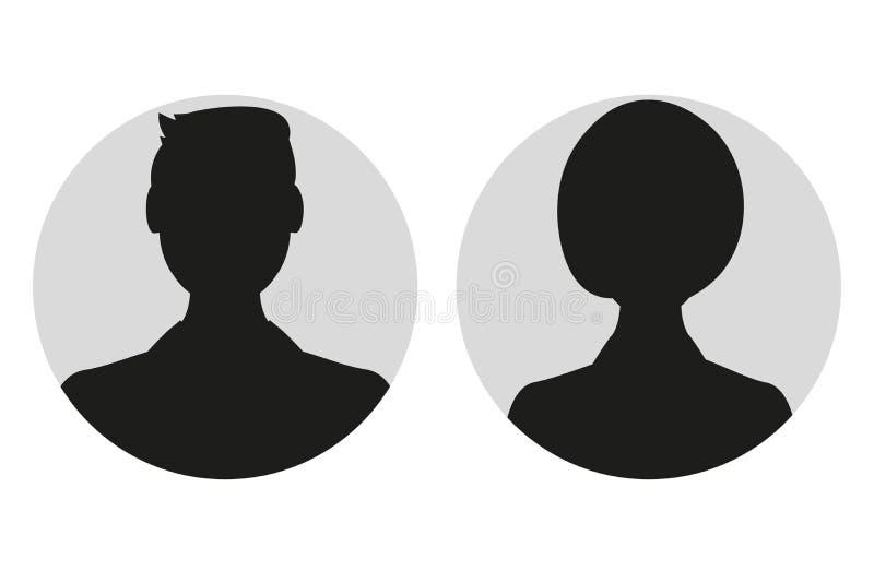 Maschio e siluetta o icona femminile del fronte Profilo dell'avatar della donna e dell'uomo Persona sconosciuta o anonima Illustr illustrazione vettoriale