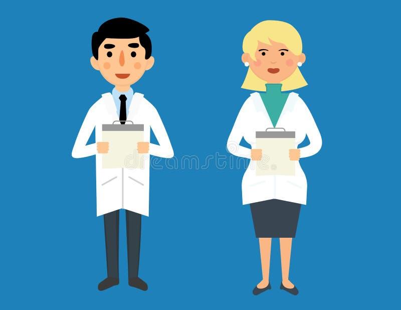 Maschio felice sorridente e medici femminili royalty illustrazione gratis