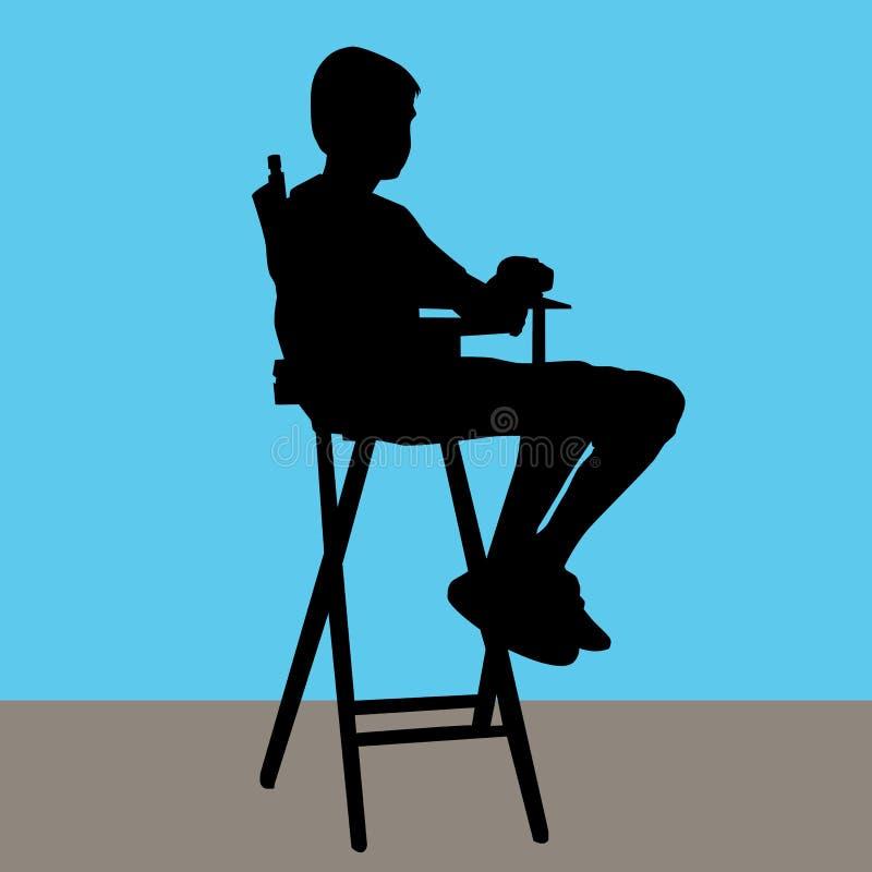 Maschio giovane in direttori Chair royalty illustrazione gratis