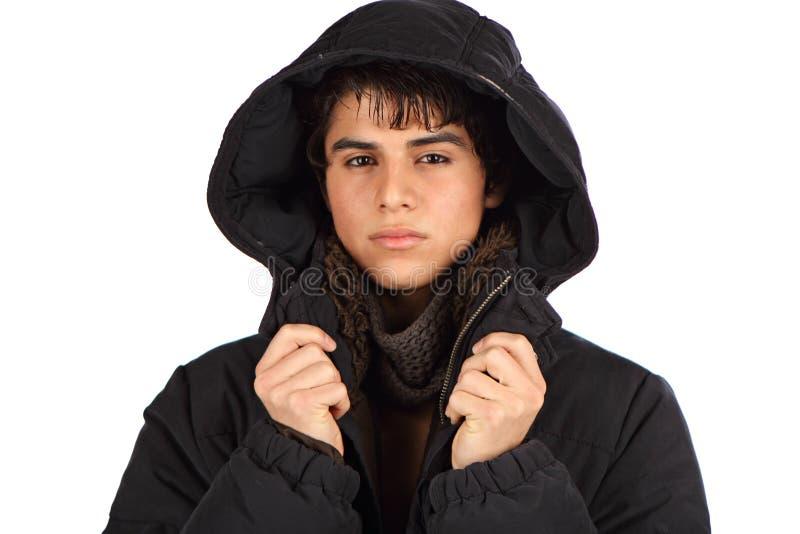 Maschio ispanico con il cappotto immagini stock libere da diritti
