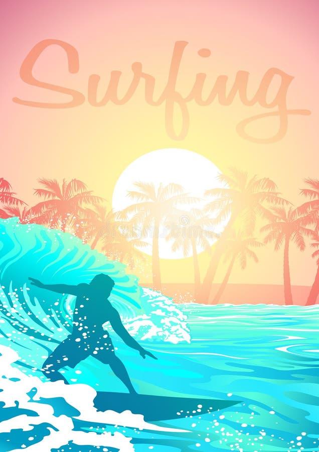 Maschio praticante il surfing ad alba con le palme illustrazione vettoriale