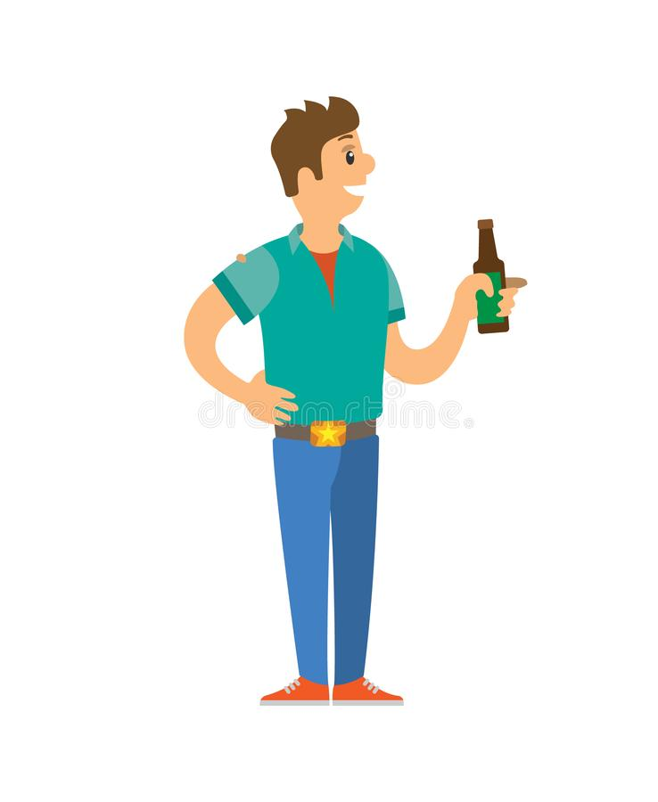 Maschio sulla discoteca che sta con la bottiglia di alcool illustrazione vettoriale