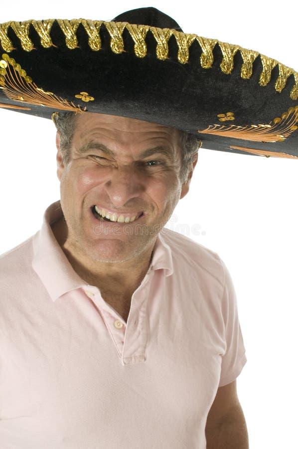 maschio turistico che porta il cappello messicano di somebrero fotografie stock libere da diritti