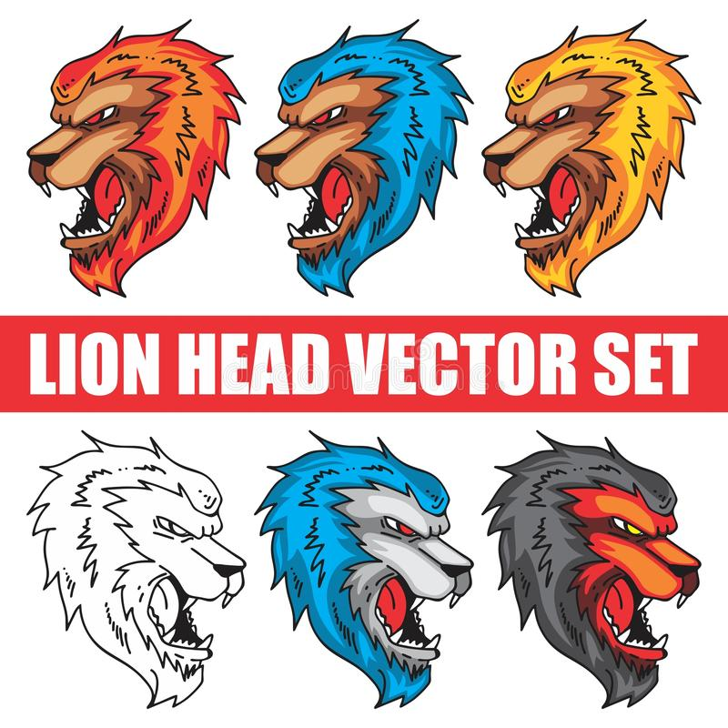 MASCOT IN HAND DRAWING STYLE LION vector illustration