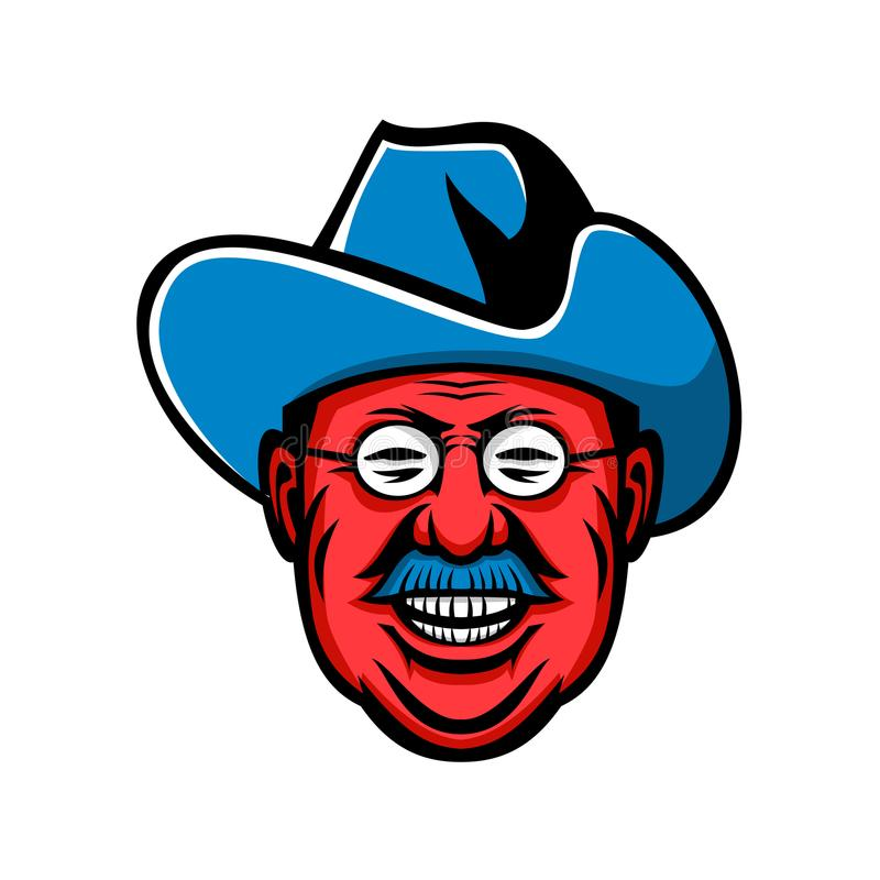 Theodore Roosevelt Rough Riders Mascot. Mascot icon illustration of head of Theodore Roosevelt, American president and commander of Rough Riders viewed from stock illustration