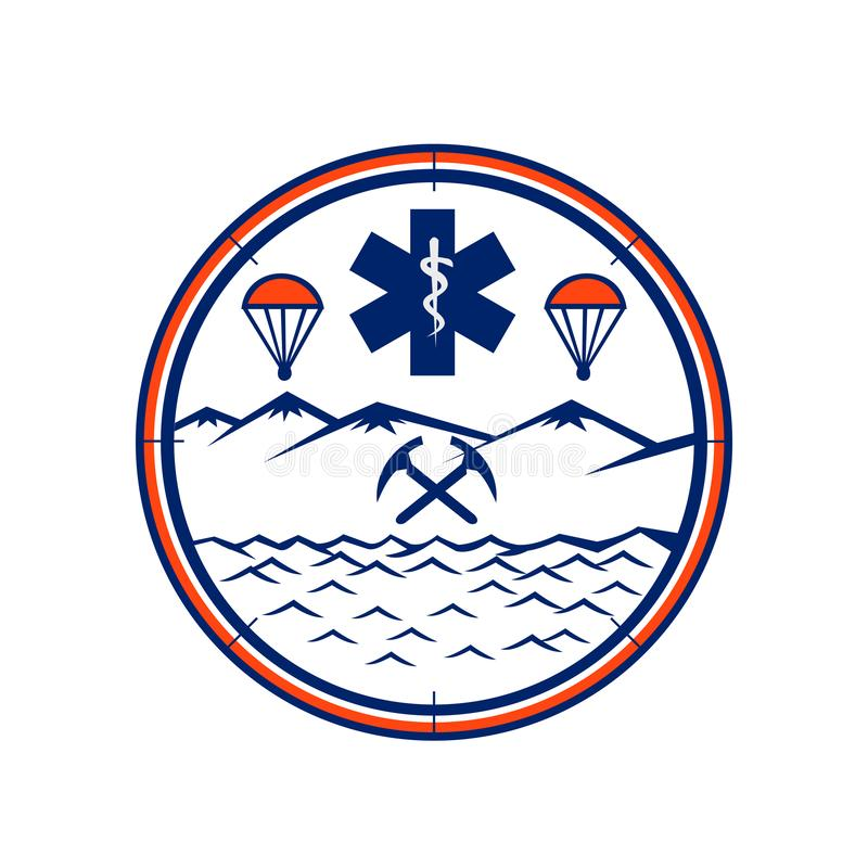 Land Sea Air Rescue Icon. Mascot icon illustration of and, sea and air rescue showing star of life EMT symbol with Rod of Asclepius in the center with crossed stock illustration