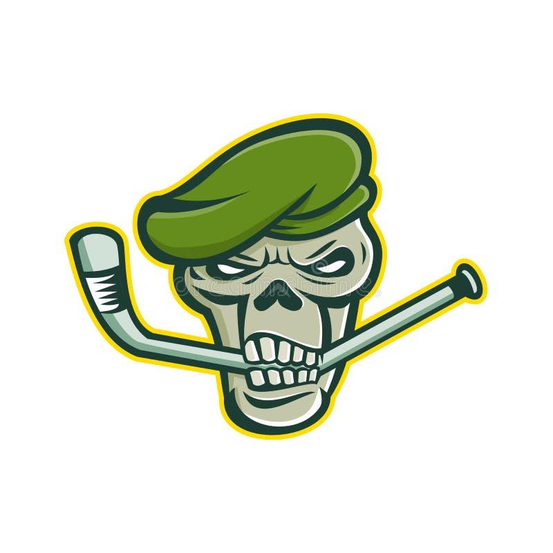 Green Beret Skull Ice Hockey Mascot vector illustration