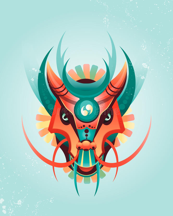 Mascot magical geometric dragon in east style stock illustration