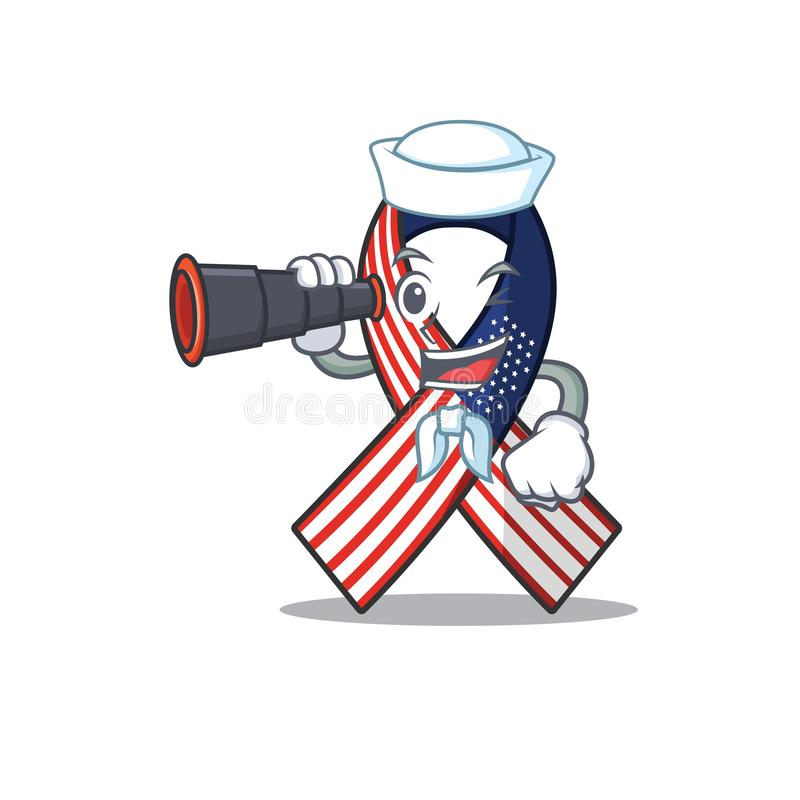 Mascot usa Ribbon Ναύτης με δυοπωδικό χαρακτήρα ελεύθερη απεικόνιση δικαιώματος