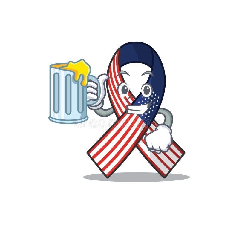 Mascot usa ribbon που κρατά χυμό στο χαρακτήρα απεικόνιση αποθεμάτων