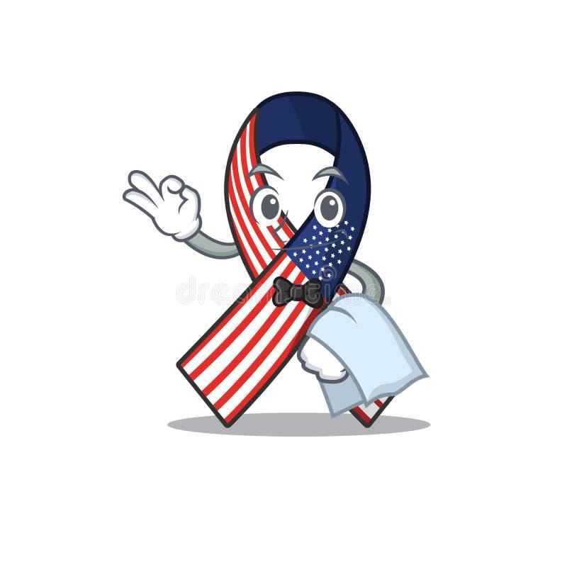 Mascot usa ribbon waiter στο χαρακτήρα ελεύθερη απεικόνιση δικαιώματος
