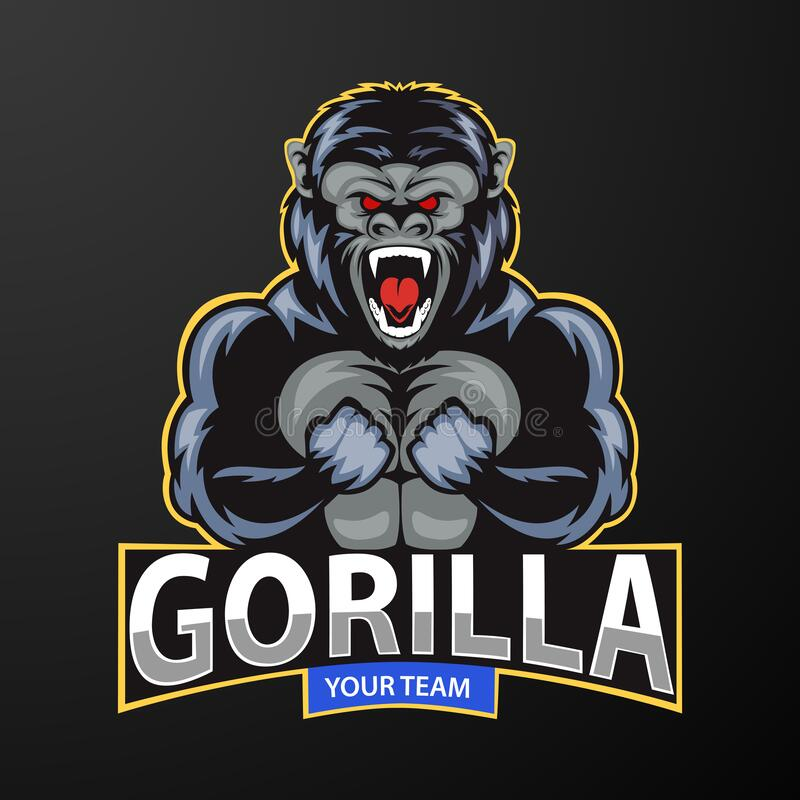 Mascot a very angry gorilla, logo for a sport team royalty free illustration