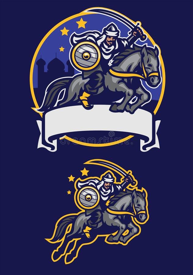 Mascota árabe del caballo de montar a caballo del guerrero libre illustration