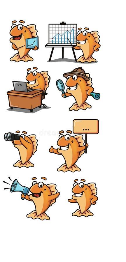 Mascota amarilla de los pescados, carácter, diversos ejemplos ilustración del vector