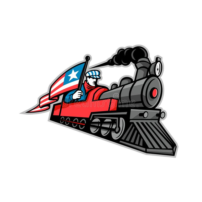 Mascota americana de la locomotora de vapor stock de ilustración