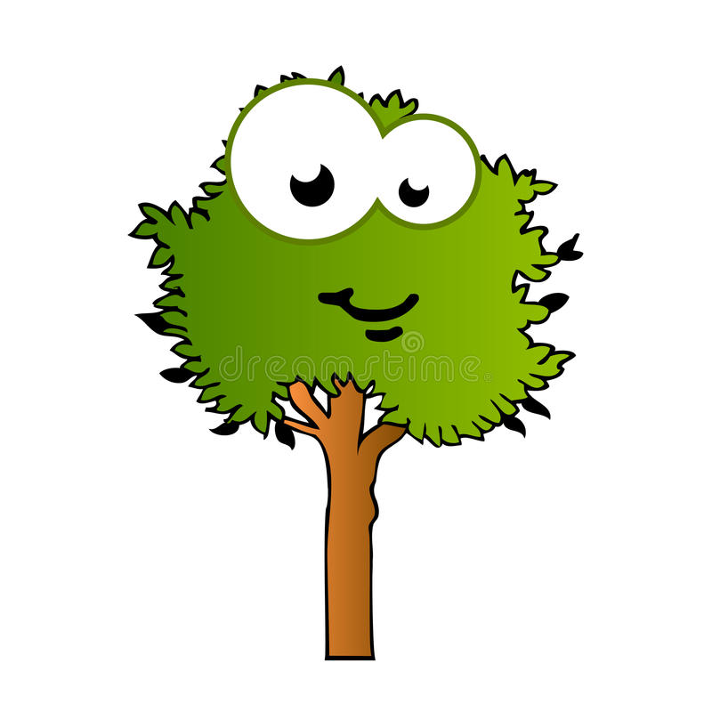 Mascota cómica del árbol feliz stock de ilustración