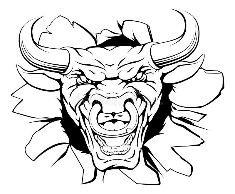 Mascota de Bull que rompe hacia fuera libre illustration