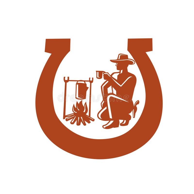 Mascota de Drinking Coffee Horseshoe del vaquero stock de ilustración