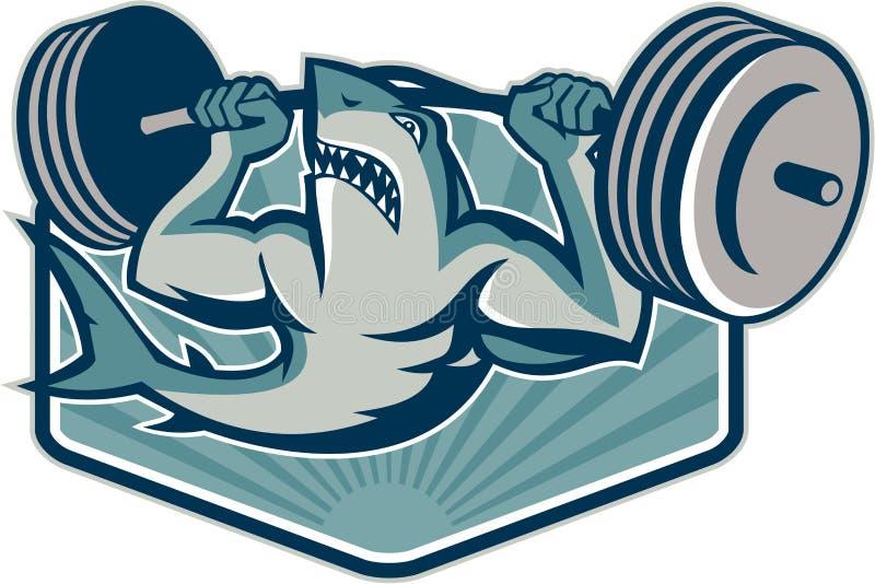 Mascota de elevación de los pesos del Weightlifter del tiburón stock de ilustración