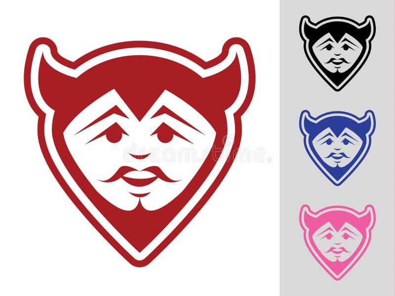 Mascota de la cara del diablo stock de ilustración