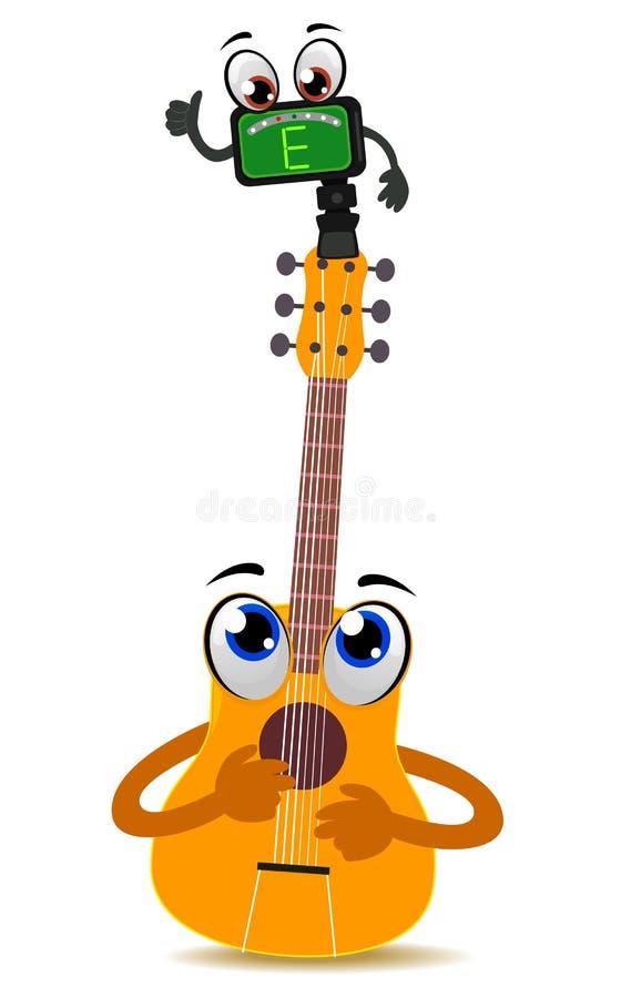 Mascota de la guitarra acústica con el sintonizador stock de ilustración