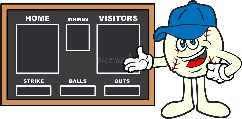 Mascota de la historieta del béisbol que muestra un marcador stock de ilustración