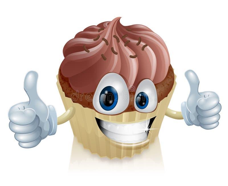 Mascota de la magdalena del chocolate stock de ilustración