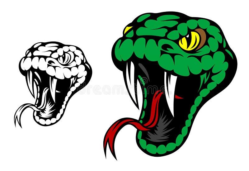 Mascota de la serpiente verde ilustración del vector