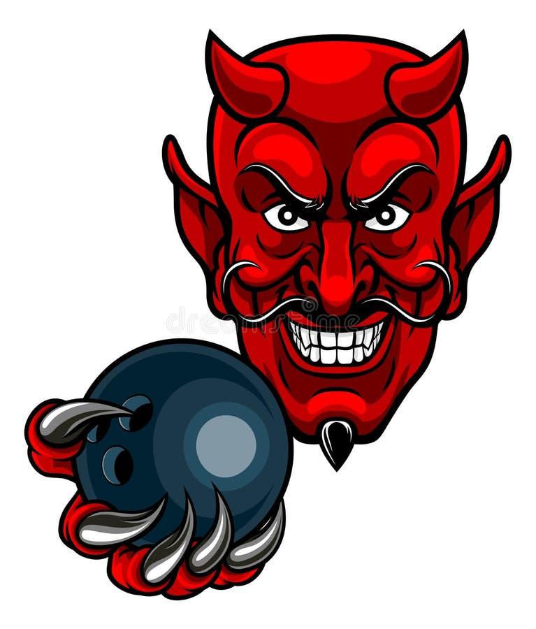 Mascota de los deportes de los bolos del diablo stock de ilustración