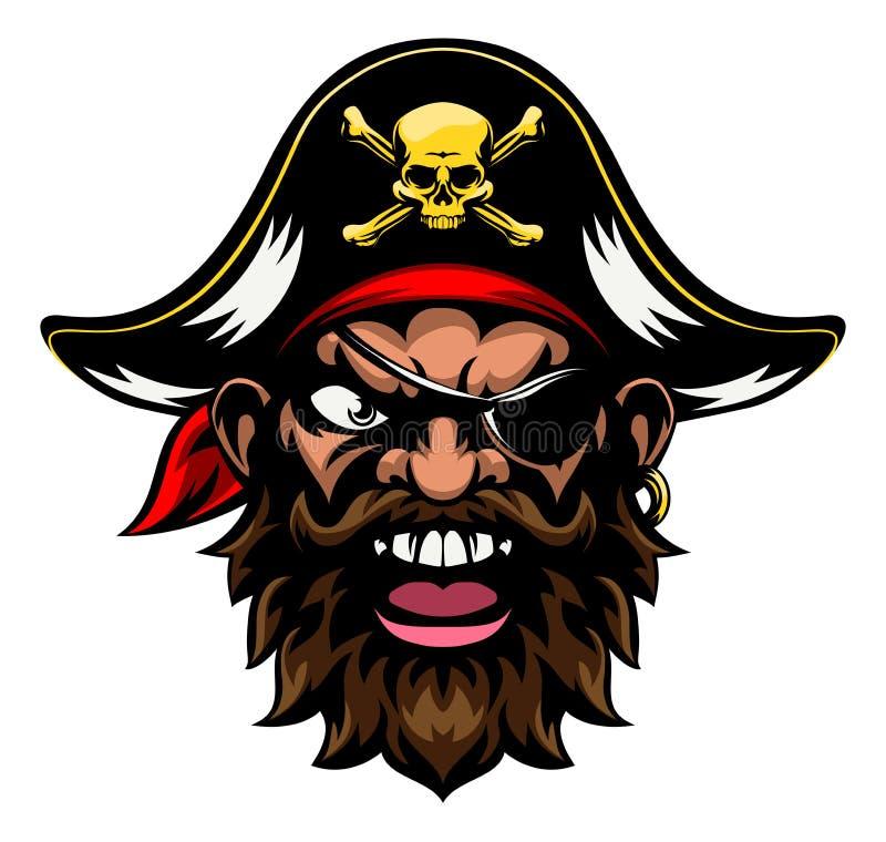 Mascota de los deportes del pirata de la historieta stock de ilustración