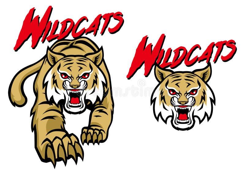 Mascota de los gatos monteses stock de ilustración