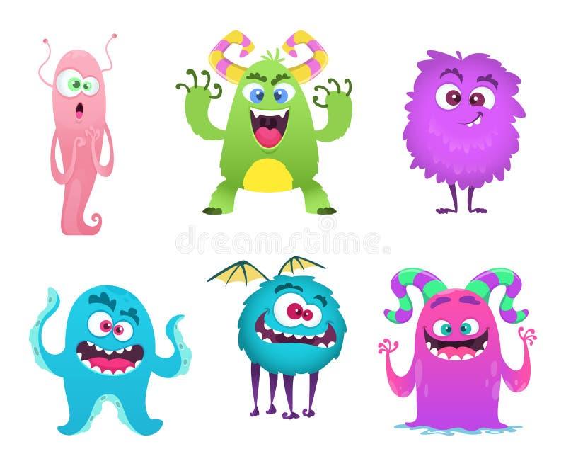 Mascota de los monstruos El duendecillo lindo peludo pesca los personajes de dibujos animados divertidos extraños del vector con  libre illustration
