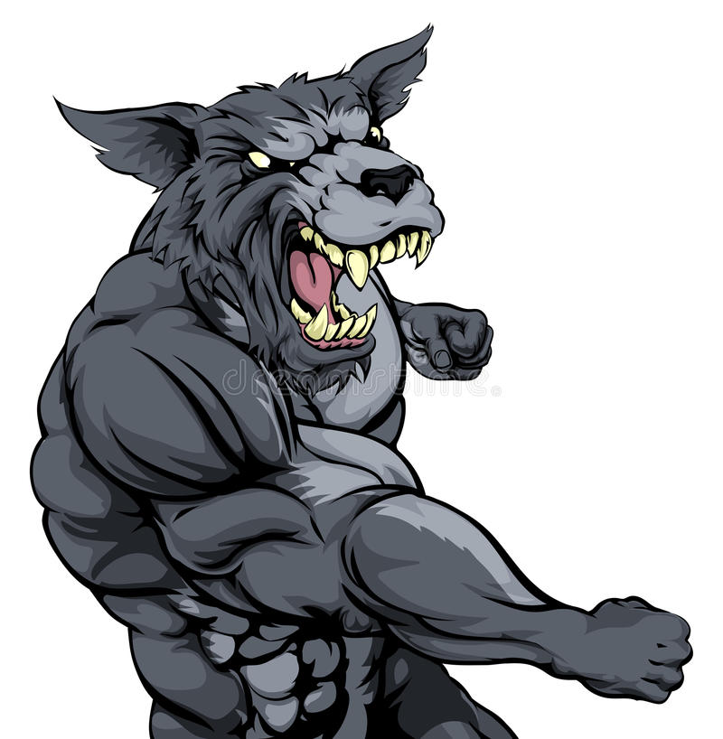 Mascota de perforación del lobo libre illustration