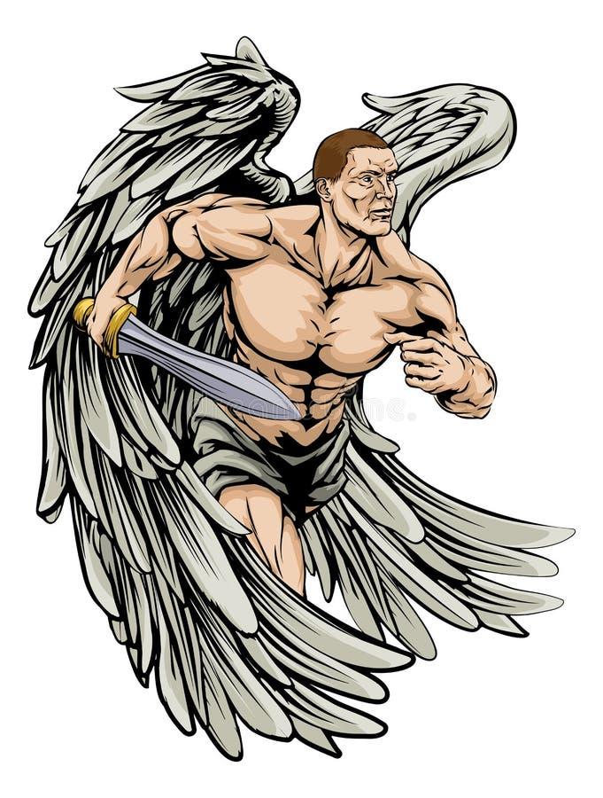 Mascota del ángel del guerrero libre illustration