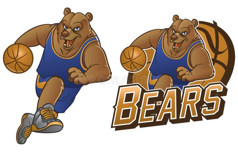 Mascota del baloncesto de la historieta del oso ilustración del vector