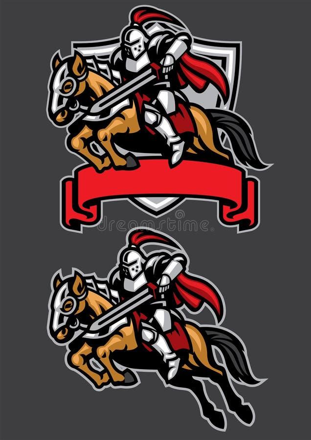 Mascota del caballo de montar a caballo del guerrero del caballero libre illustration