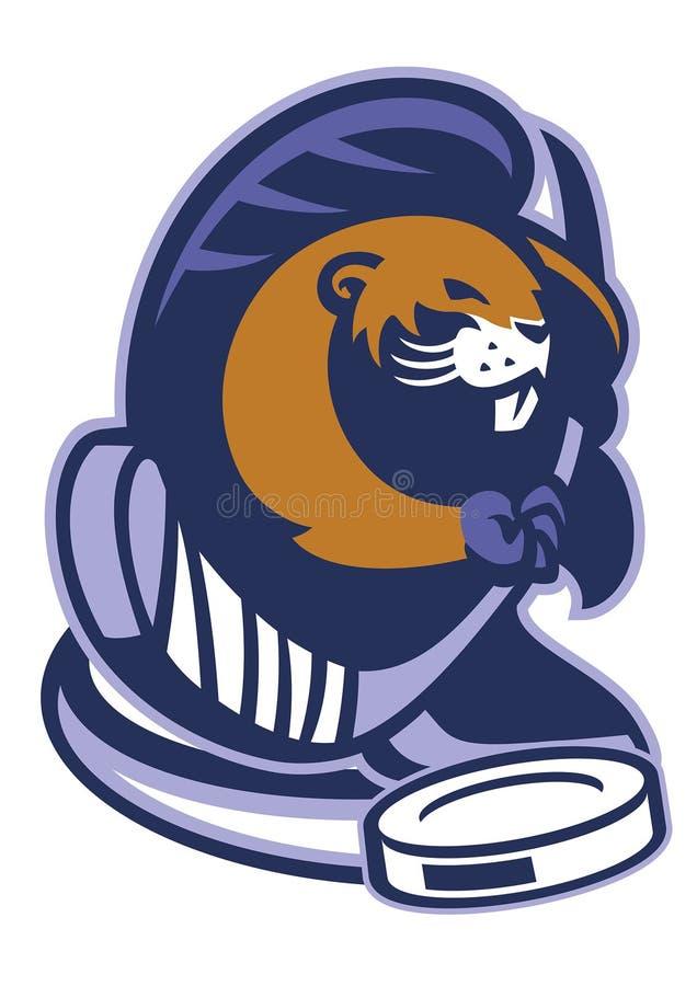 Mascota del castor del hockey sobre hielo stock de ilustración