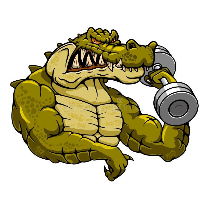 Mascota del cocodrilo de la historieta con pesa de gimnasia libre illustration
