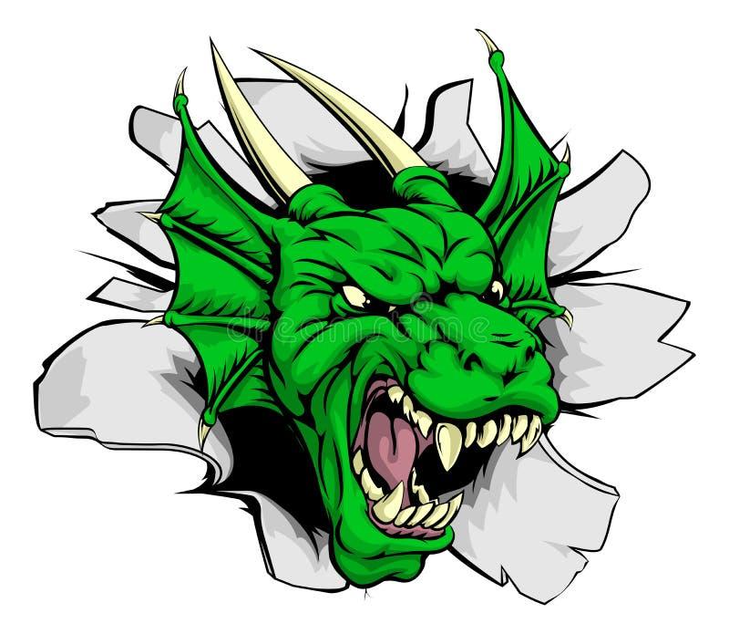Mascota del dragón que se rompe a través de la pared ilustración del vector