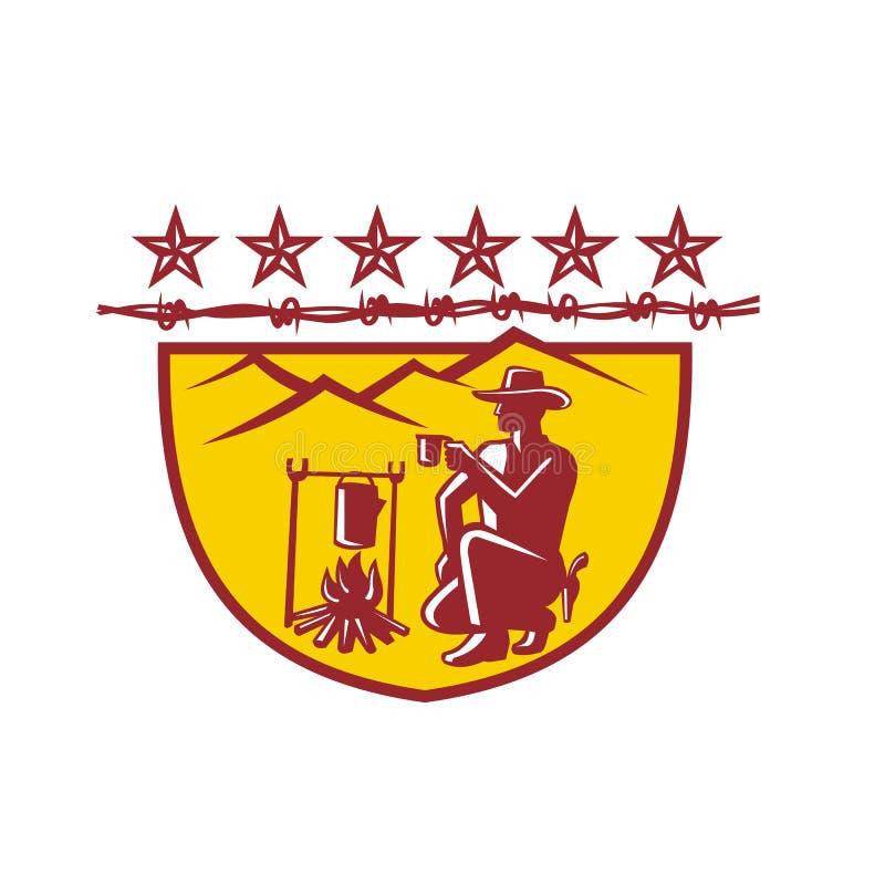 Mascota del escudo de Drinking Coffee Campfire del vaquero stock de ilustración