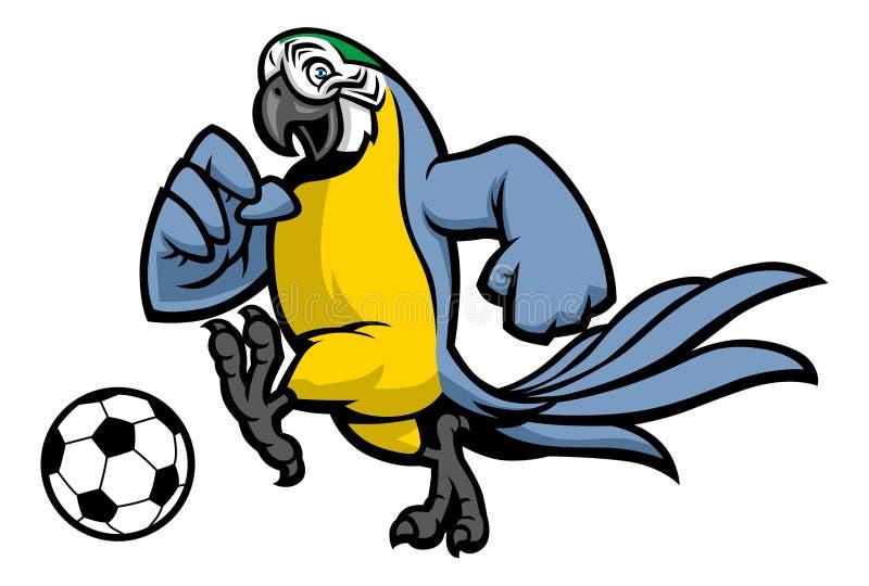 Mascota del fútbol del pájaro del Macaw ilustración del vector