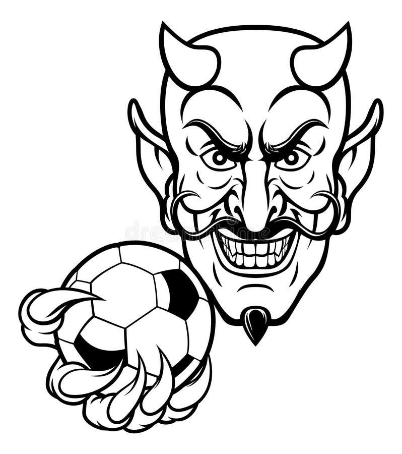 Mascota del fútbol del fútbol del diablo stock de ilustración