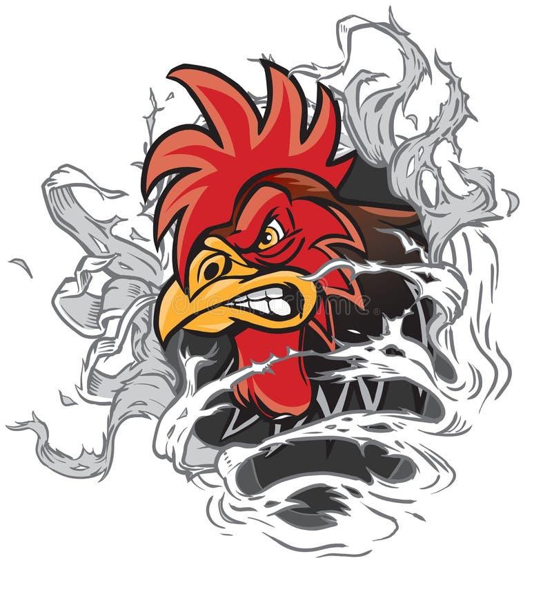 Mascota del gallo de la historieta que rasga fuera de fondo libre illustration