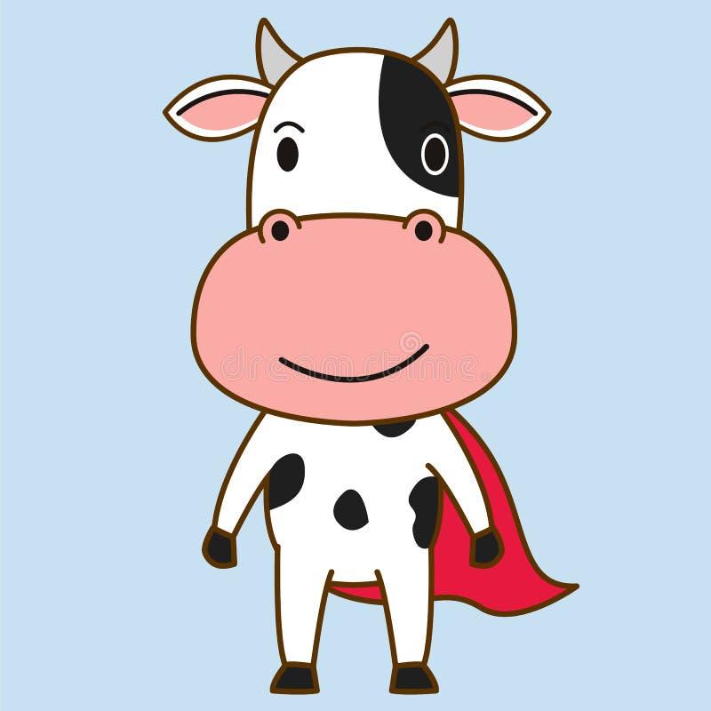 Mascota del héroe de la vaca ilustración del vector