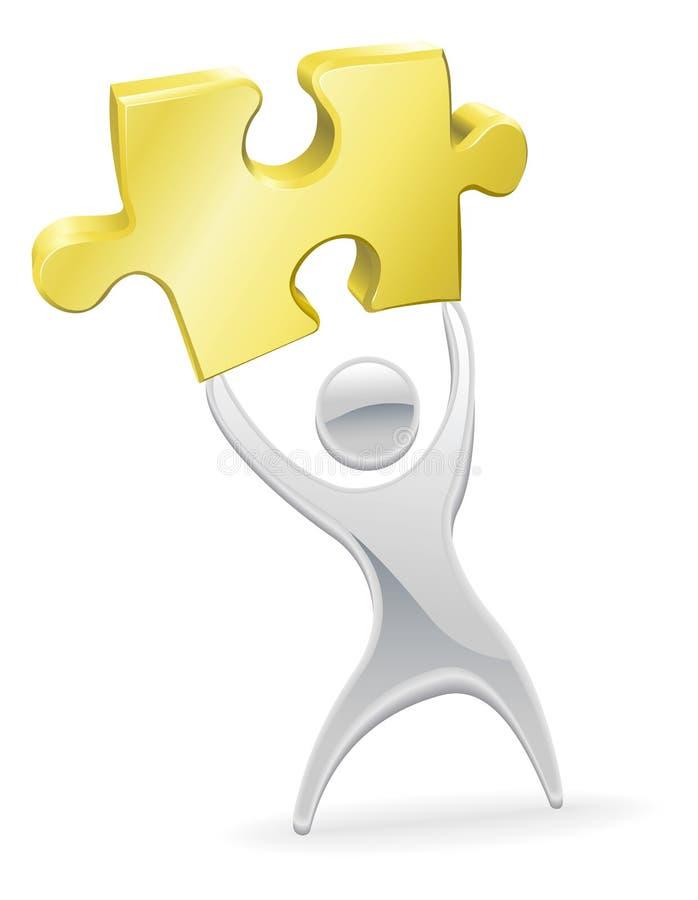 Mascota del metal que soporta un pedazo del rompecabezas de rompecabezas stock de ilustración