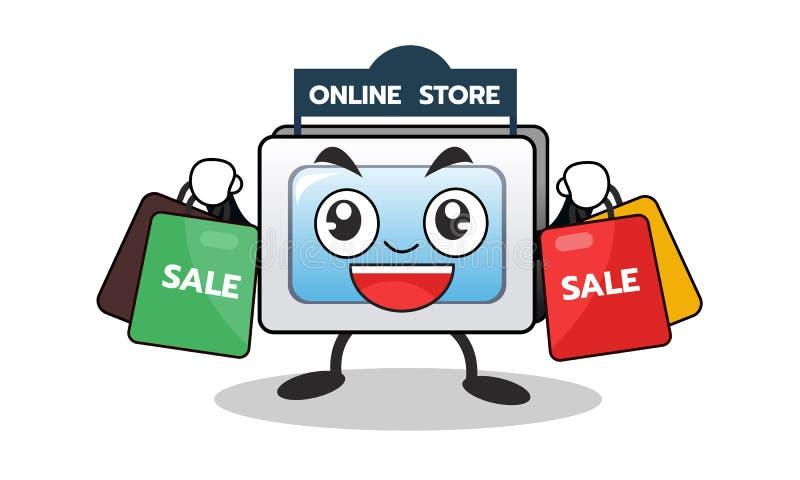 Mascota del ordenador de la historieta de las compras en línea con el bolso de la venta de las compras Diseño de carácter Ilustra ilustración del vector